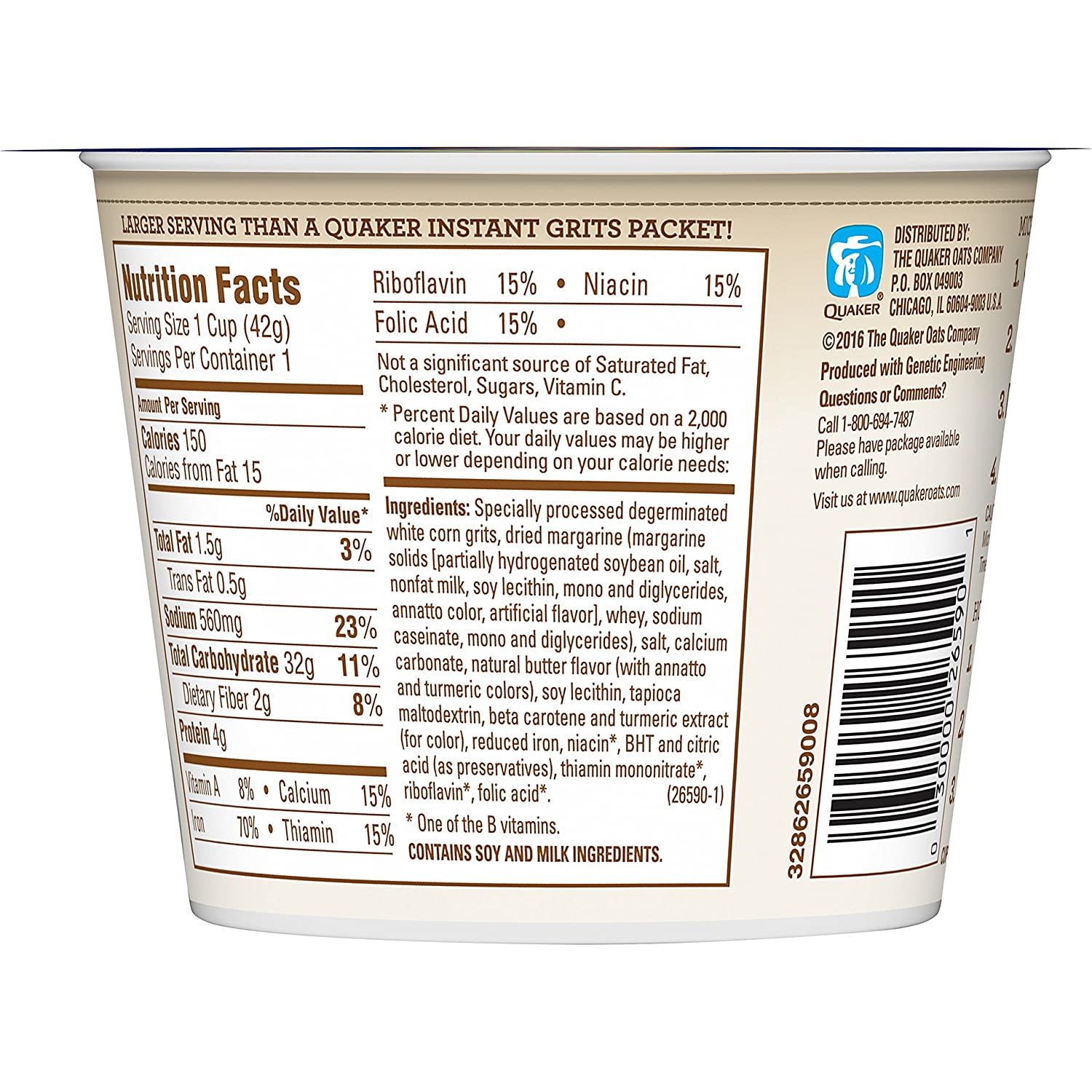Amazon.com: Quaker Instant Grits, Butter Flavor, Breakfast Cereal (Pack of 12):
