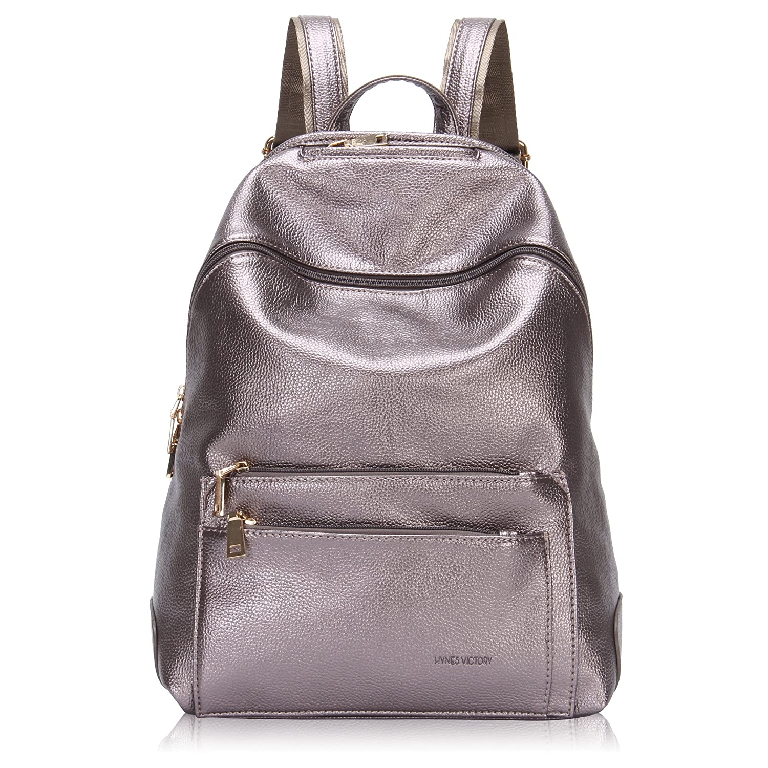 Amazon.com   Hynes Victory Faux Leather Backpack for Women Dressy Campus Backpack  Purse Metallic silver   Backpacks dbd212b410