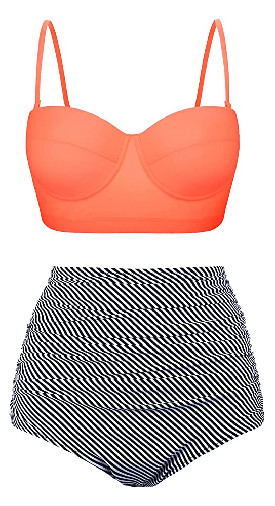 Vintage Bathing Suits | Retro Swimwear | Vintage Swimsuits Aixy Women Vintage Swimsuits Bikinis Bathing Suits Retro Halter Underwired Top $21.99 AT vintagedancer.com