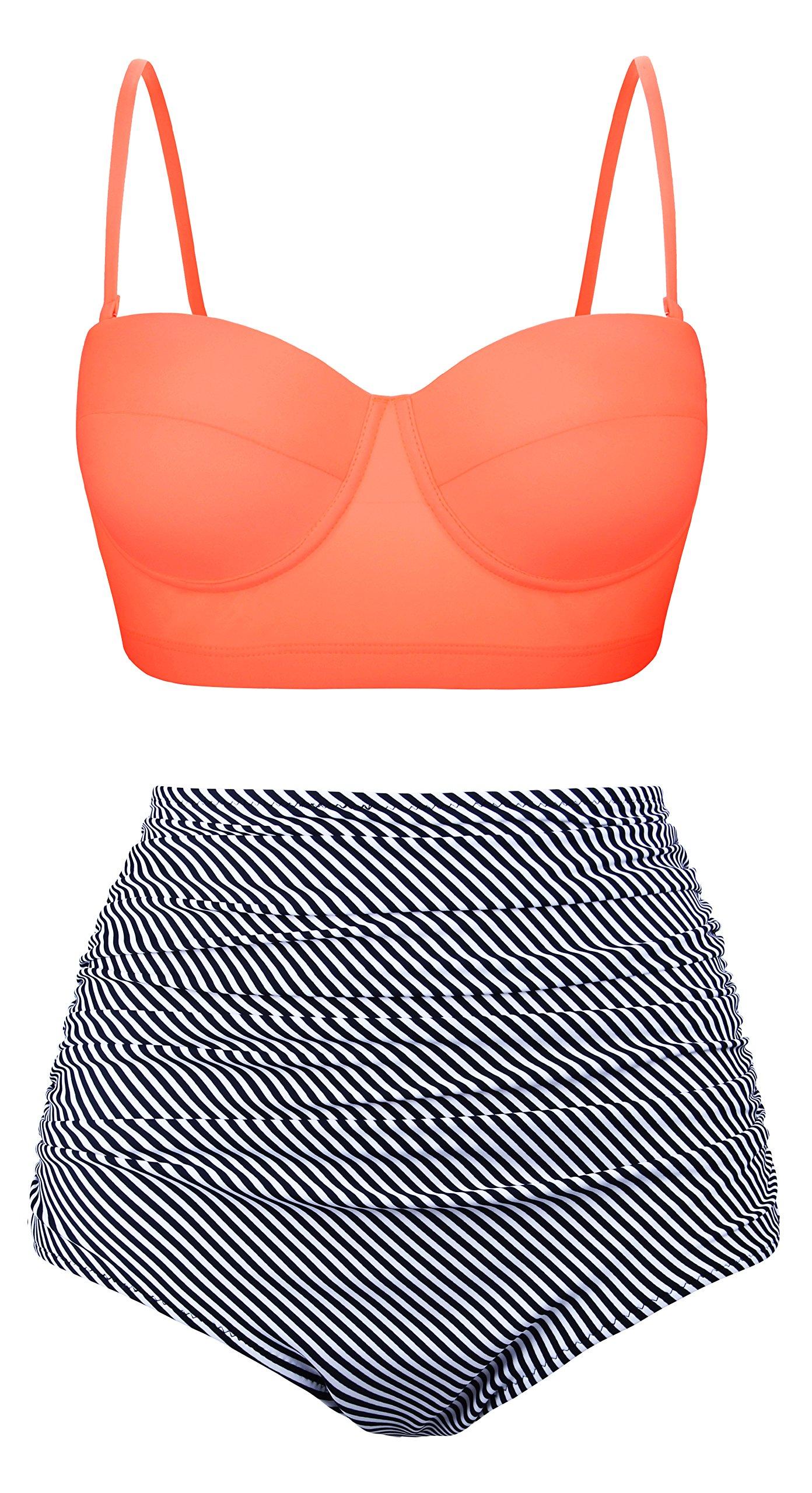 Aixy Women Vintage Swimsuits Bikinis Bathing Suits Retro Halter Underwired Top Orange Plus black US 14-16=Tag Size 4XL