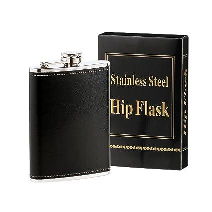 Petaca forrada de acero inoxidable Heesung para whisky y licor (235 ml), con tapón de rosca integrado