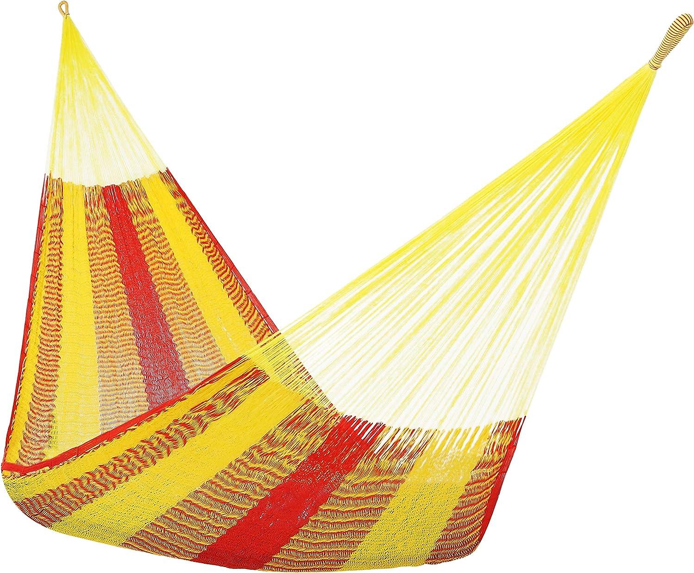Sunnydaze Portable Mayan Hammock Hand-Woven, Family Size, 660 Pound Capacity, Tequila