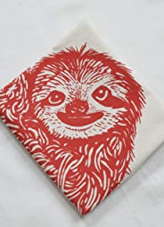 Tea Towel - Sloth Design in Red - Organic Flour Sack Towel - Hand Printed