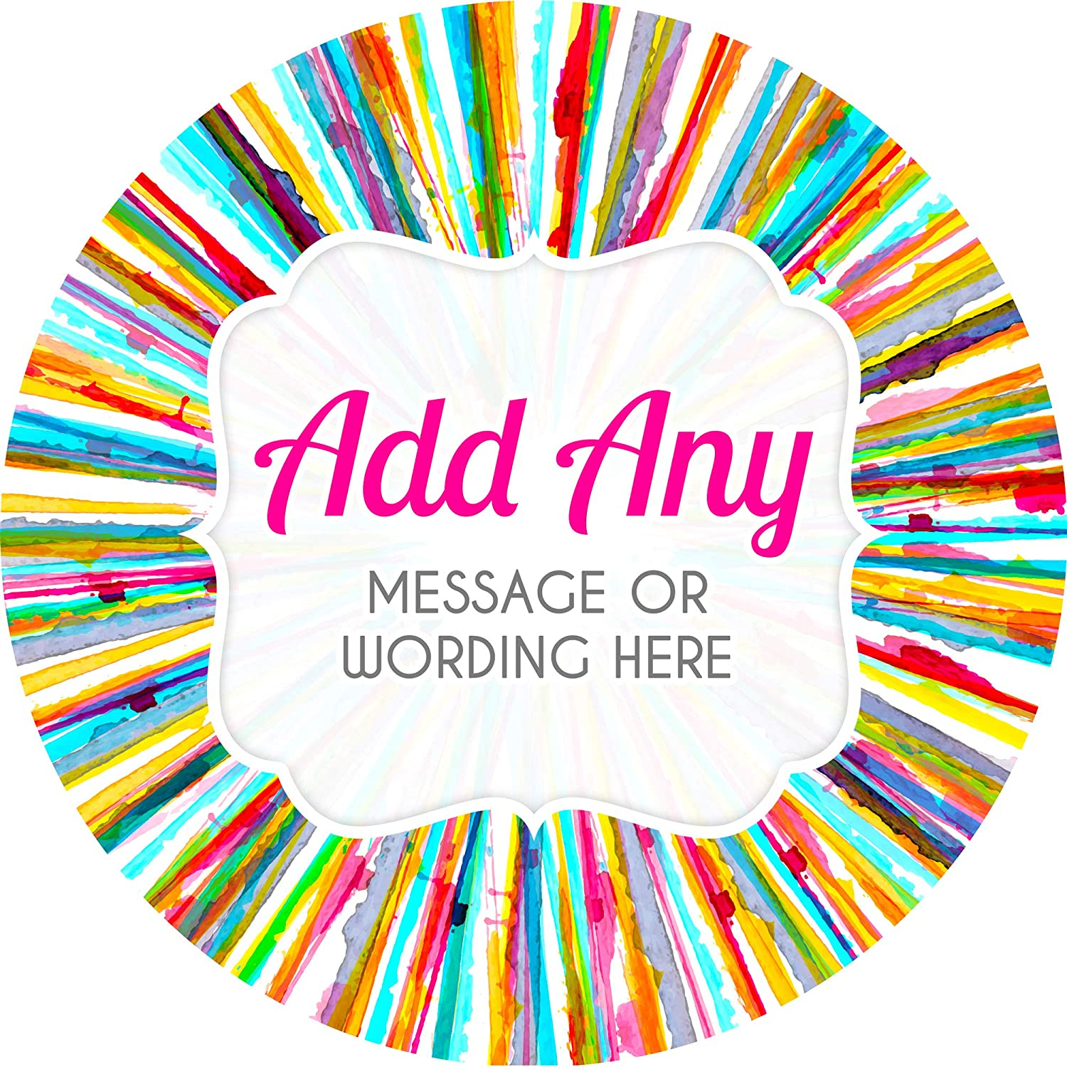 Favours Jars Presentations Gift Boxes Crafts Rainbow Watercolour Stripes Black Sticker Labels Sweet Cones Personalised Seals Ideal for Party Bags 6 Stickers, 9.5cm Each Bottles
