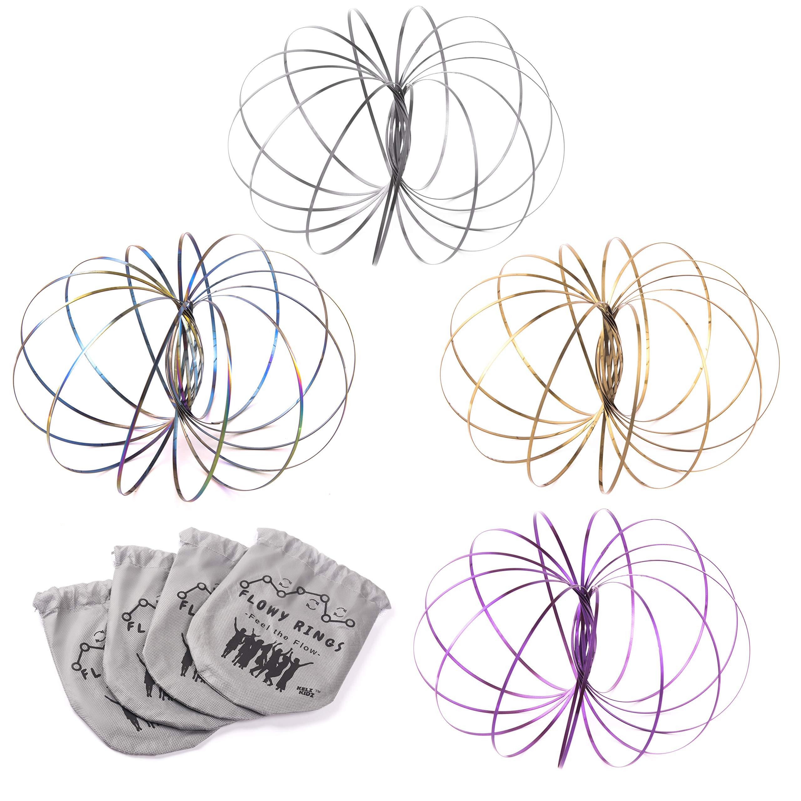 KELZ KIDZ Kinetic 3D Flow Rings Made from High Grade Stainless Steel (12 Pack Assorted)
