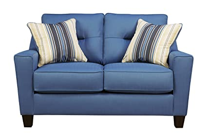 Benchcraft - Forsan Nuvella Contemporary Upholstered Loveseat - Blue