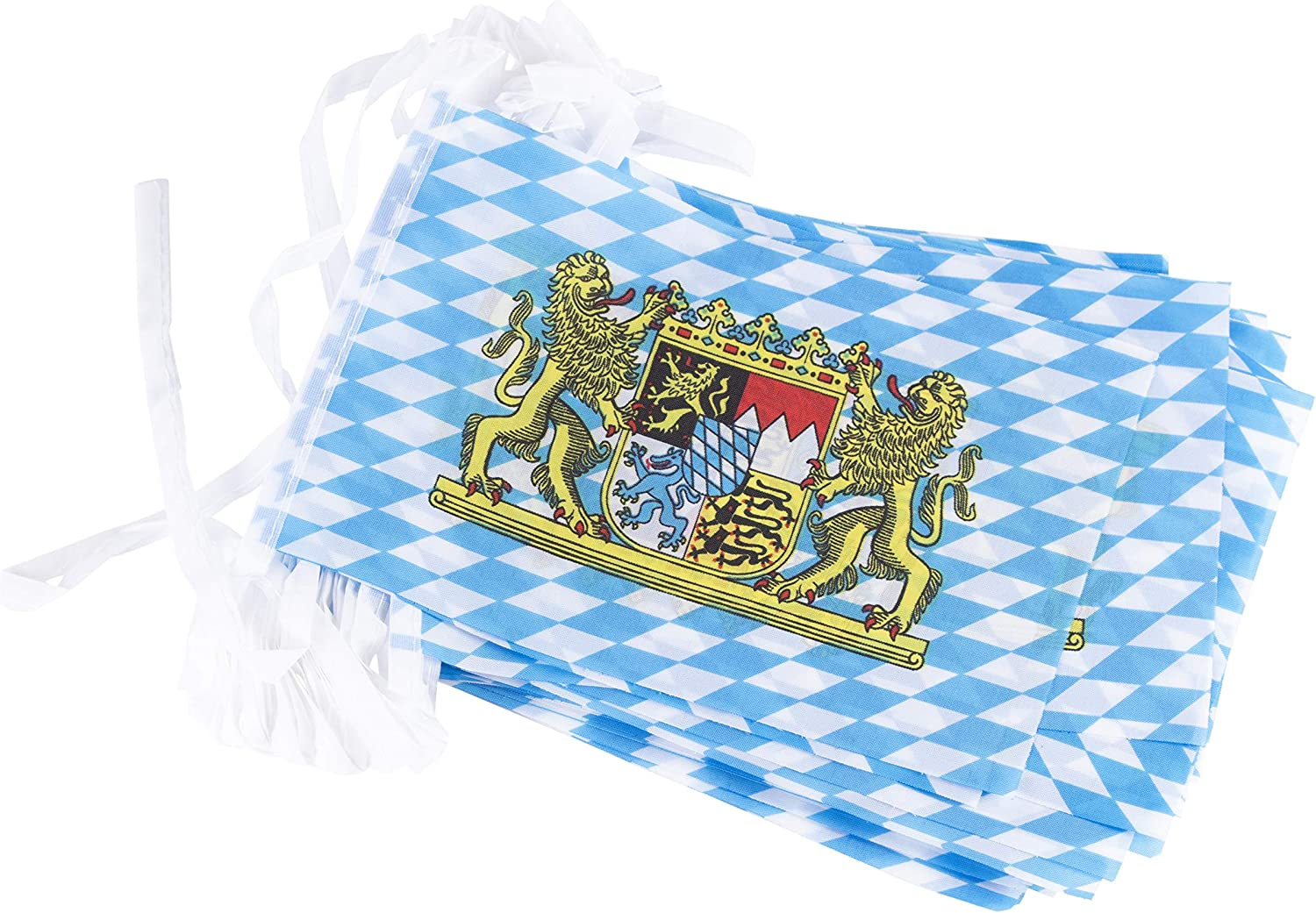 Juvale Bavarian Oktoberfest String Flags - 80-Feet German Theme Party Pennant Banner Hanging Decoration, 100 8 x 5-Inch Flag Pieces