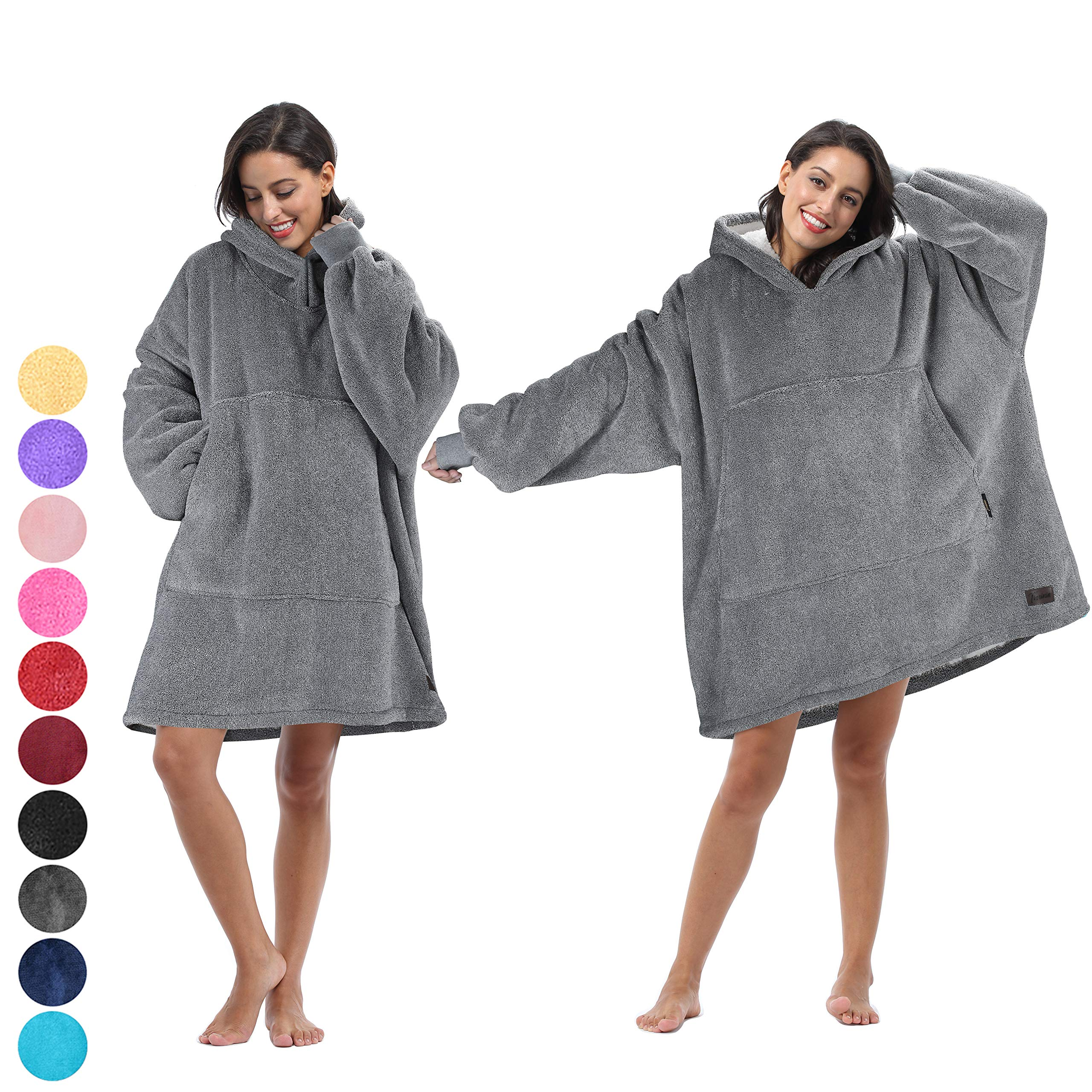 Tirrinia Blanket Sweatshirt, Super Soft Warm Comfortable Sherpa Hoodie with Giant Pocket, for Adults, Kids, Boys, Girls, Reversible, Hood, Oversized (Ash Gray)