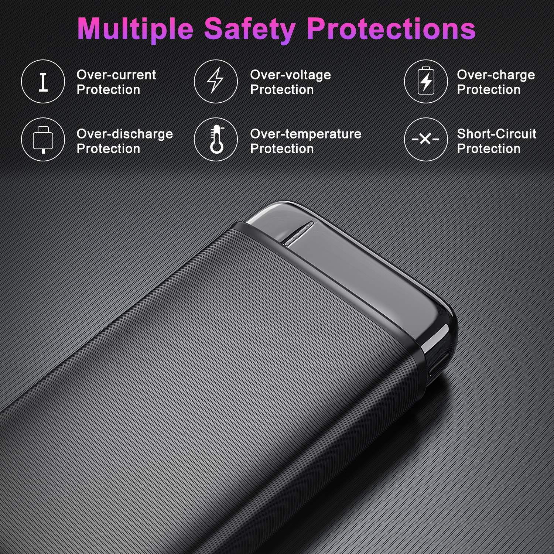 Samsung RIWNNI USB C Bateria Externa 20000mAh Huawei y M/ás iPad Negro Gran Capacidad Power Bank 18W PD Carga R/ápida Bater/ía Port/átil con 3 Salida /& 2 Entrada Cargador Portatil Movil para iPhone