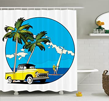 Ambesonne Retro Shower Curtain Graphic Design Nostalgic Chevy Car And A Sailer Guy In The