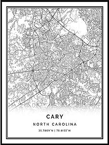Squareious Cary map Poster Print | Modern Black and White Wall Art | Scandinavian Home Decor | North Carolina City Prints Artwork | Fine Art Posters 11x14