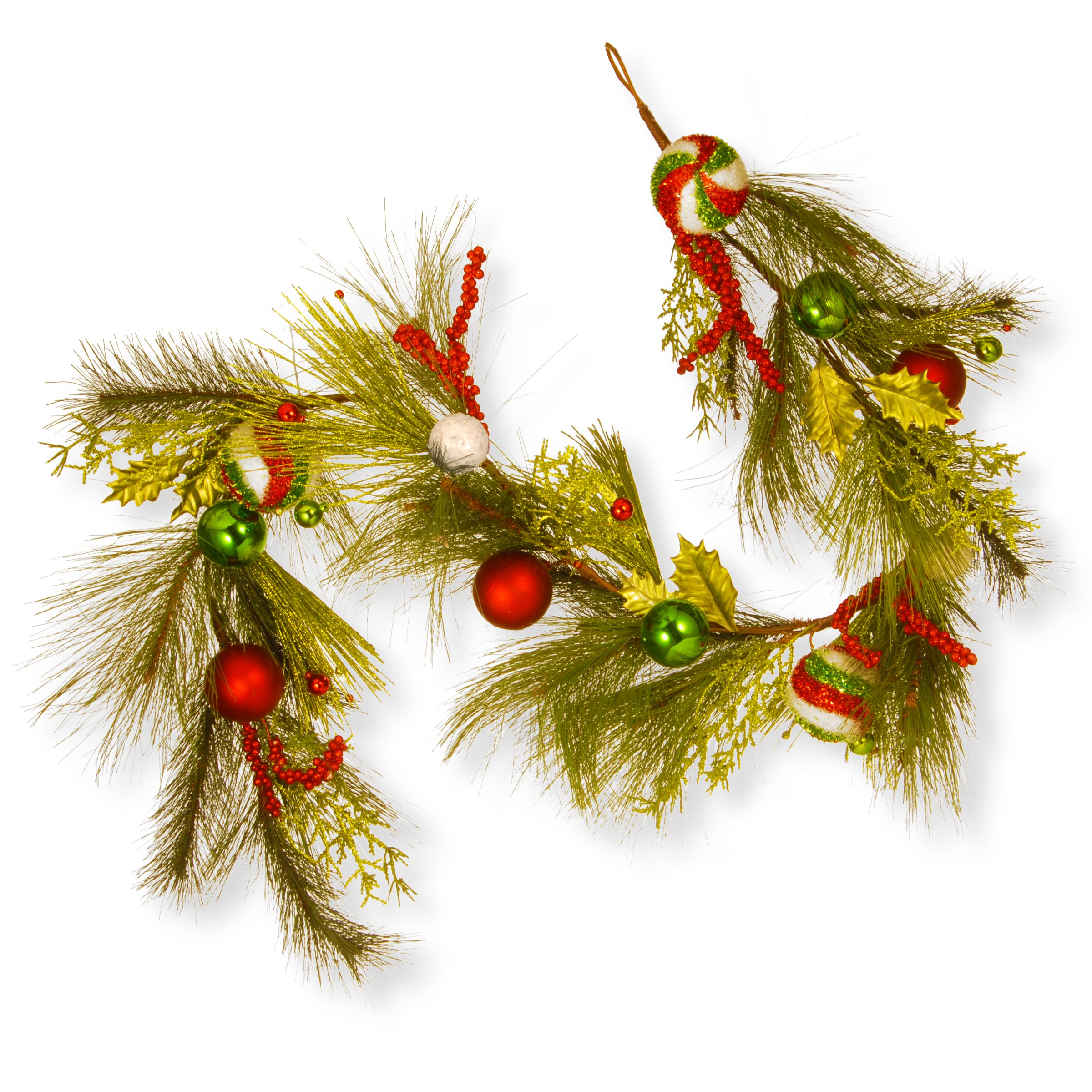 National Tree 72 Inch Christmas Ball Ornament Garland in Red and Green (RAC-16009G6)