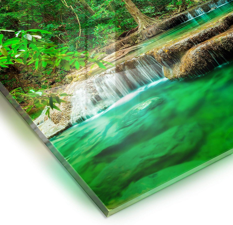 Kitchen Tempered Glass Splashback Protection waterfall nature green