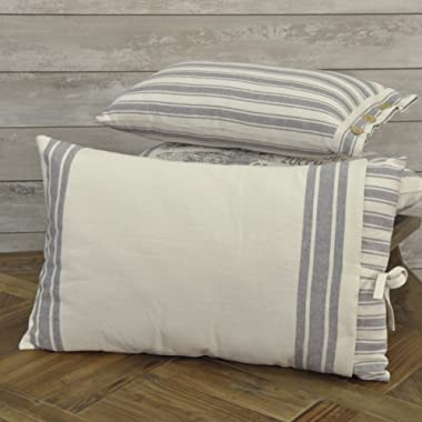 Piper Classics Market Place Gray Ticking Stripe Filled Pillow with Grain Sack Cover, 16  x 24.5 , Farmhouse Style