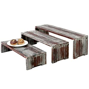 MyGift Set of 3 Torched Wood Retail Display Risers