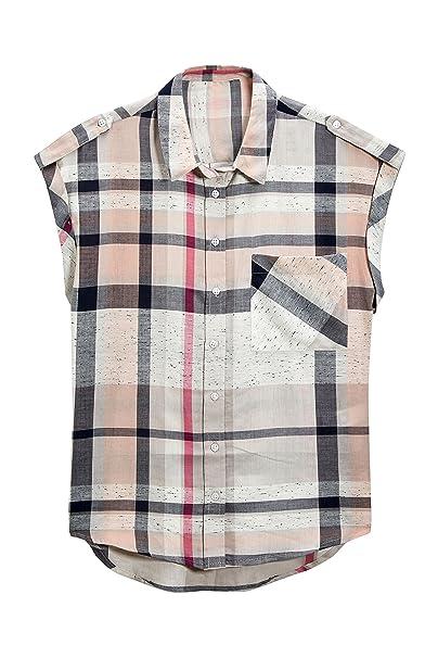 83420f3769 next Mujer Camisa Cuadros Manga Corta Corte Regular Rosa Gris EU 50 (UK 22