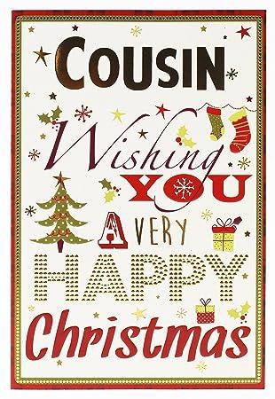 Cousin Grußkarte Weihnachten Festive Cute Metallic Vers Weihnachts ...