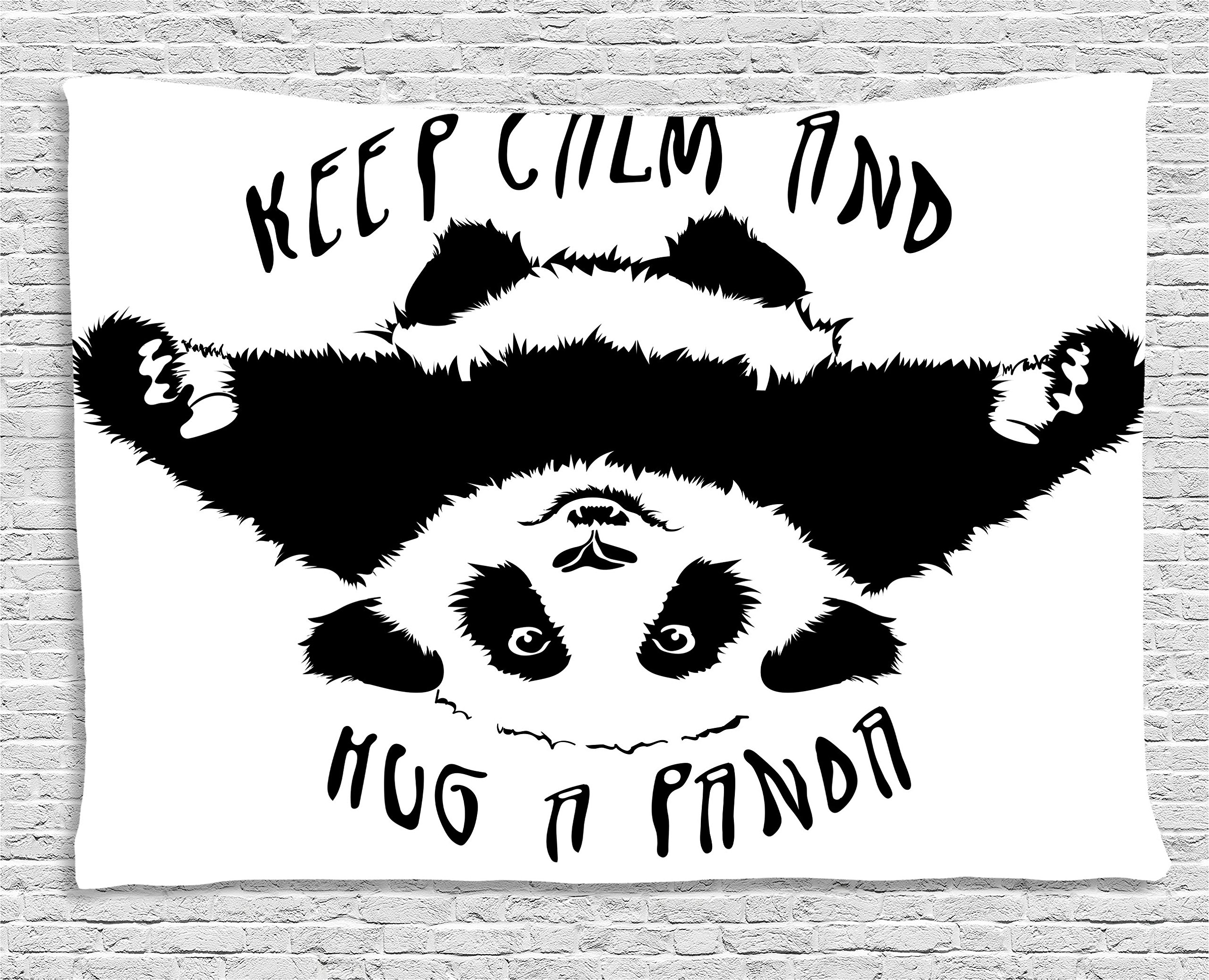 Ambesonne Black and White Tapestry Decor, Funny Animal Mascot Keep Calm and Hug a Panda Motivational Quote, Wall Hanging for Bedroom Living Room Dorm, 80 W X 60 L Inches, Black White by Ambesonne (Image #1)