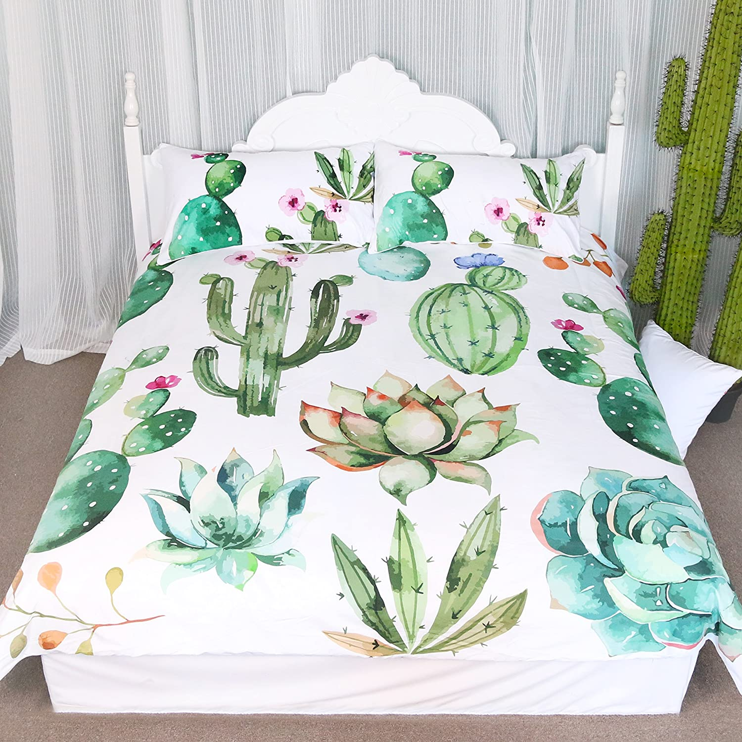 Bright Cactus Pattern Bedding Set Green plants cactus Print 3 Pieces Duvet Cover Set Nature Art Prints Decor Collection (Full)