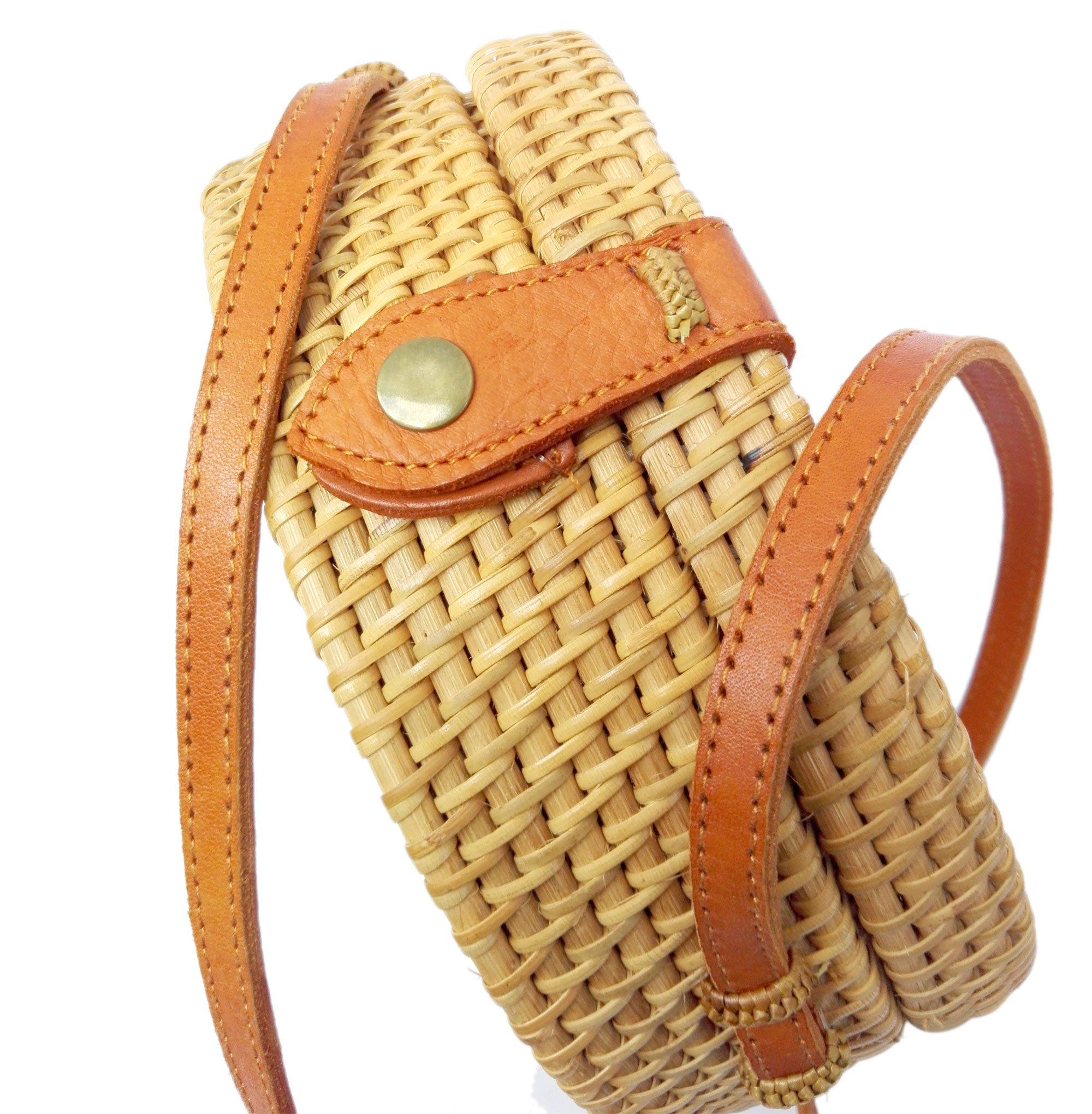 Bali Rattan - Handwoven Round Rattan Bag (Plain Weave Leather Closure) by Bali Rattan (Image #8)