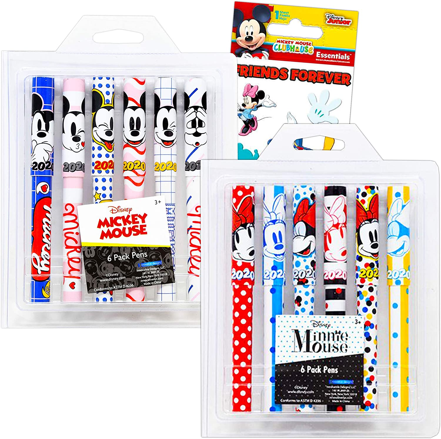 Disney Mickey and Minnie Stationary Set Minnie Mickey Mouse Pens for Adults Kids - 12 Pack Mickey Mouse Pens for Women Men with Mickey Mouse Stickers (Mickey Mouse Minnie Mouse Office Supplies)