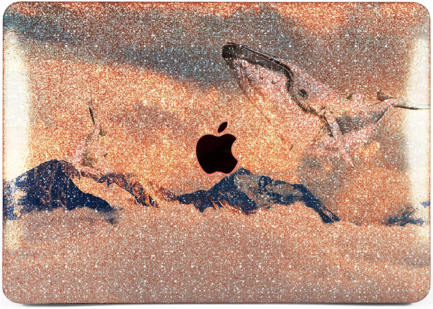 "Cavka Hard Glitter Case for Apple MacBook Pro 13"" 2019 Retina 15"" Mac Air 11"" Mac 12"" Bling Whale Mountain Glam Print Sparkly Cloud Rose Gold Cover Glossy Design Silver Animal Luxury Shiny Sky White"