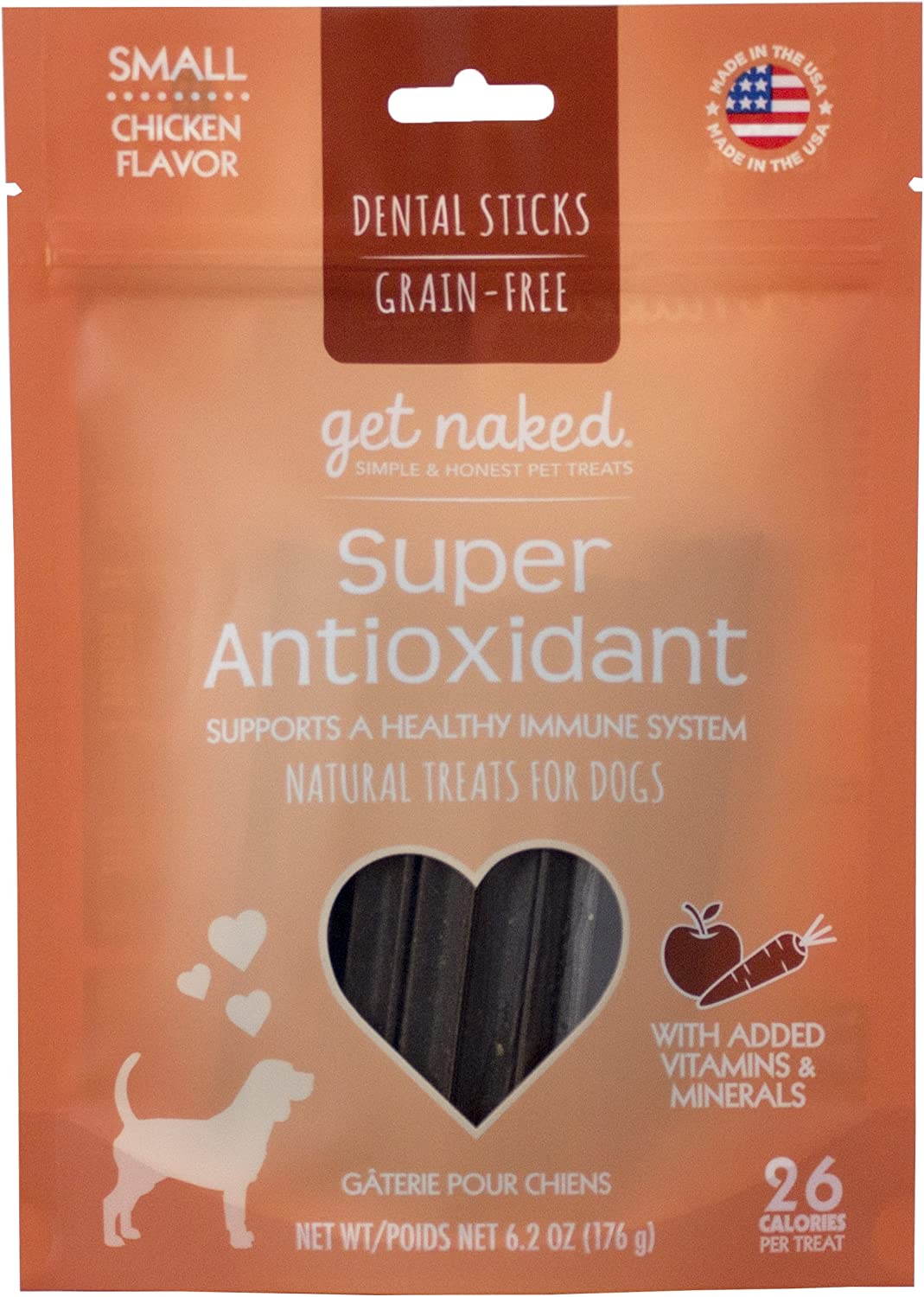 Get Naked Grain Free 1 Pouch 6.2 Oz Super Antioxidant Dental Chew Sticks, Small