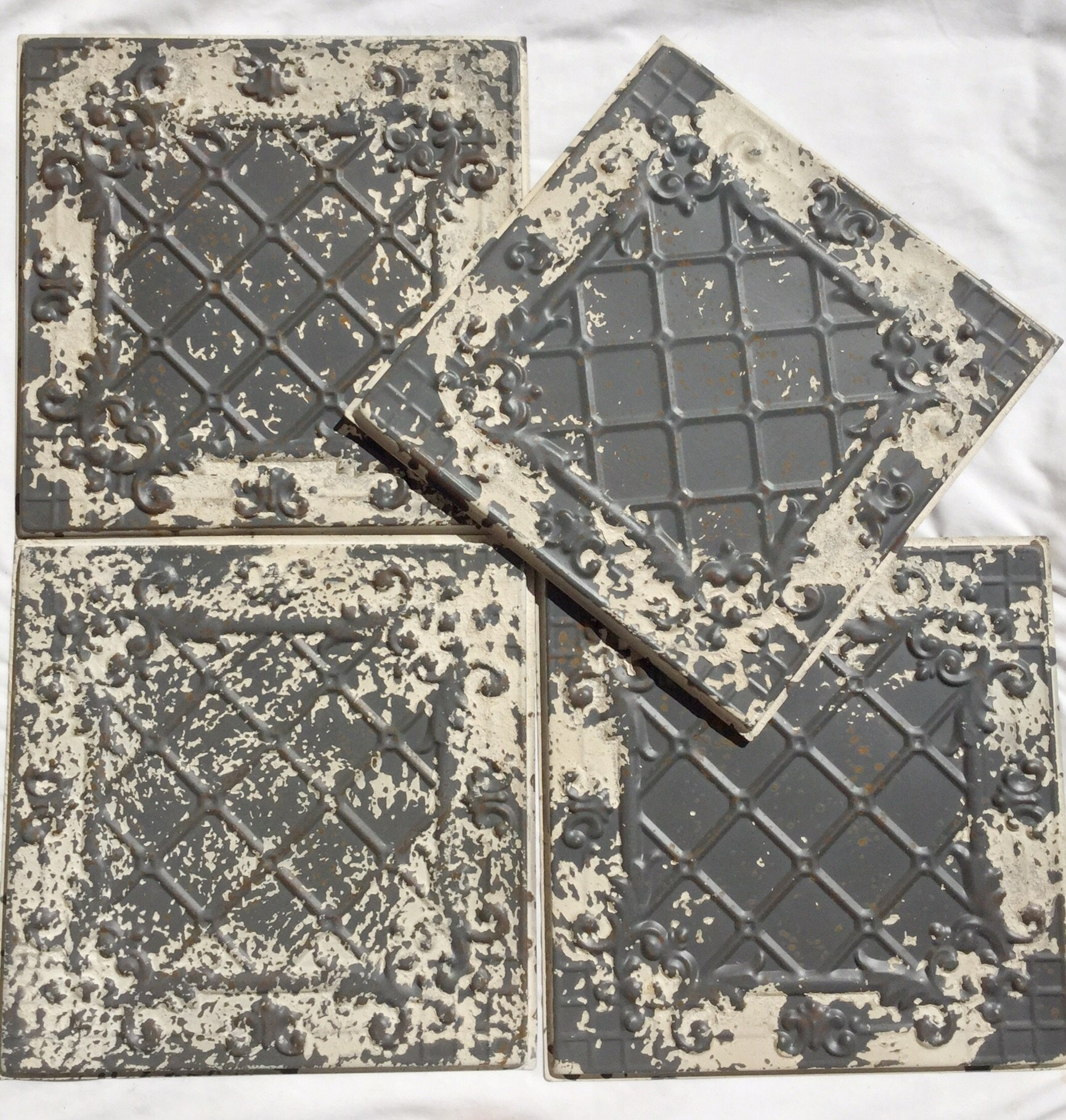 Set of 4 Antique Distressed White Tin Ceiling Tiles 12 X 12 by Park Hill