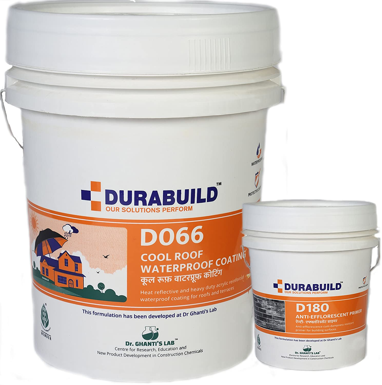 Durabuild Acrylic Reinforced Cool Roof Waterproof Coating For Terraces 5 Kg With 1 Kg D180 Anti Eflorescent Primer White Amazon In Industrial Scientific