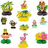 OSNIE 12Pcs Hawaiian Luau Honeycomb Centerpieces Table Topper Summer Tropical Aloha Flamingo Palm Tree Theme Party Supplies T