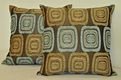 Amazon.com: Sherry Kline 18-inch Retro Spa Blue Taupe Pillow ...