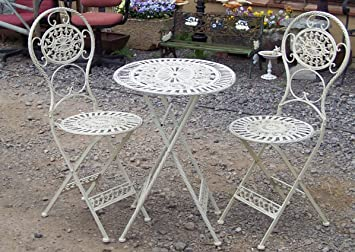 Fabulous French Style Ornate Cream Metal Garden Bistro Set