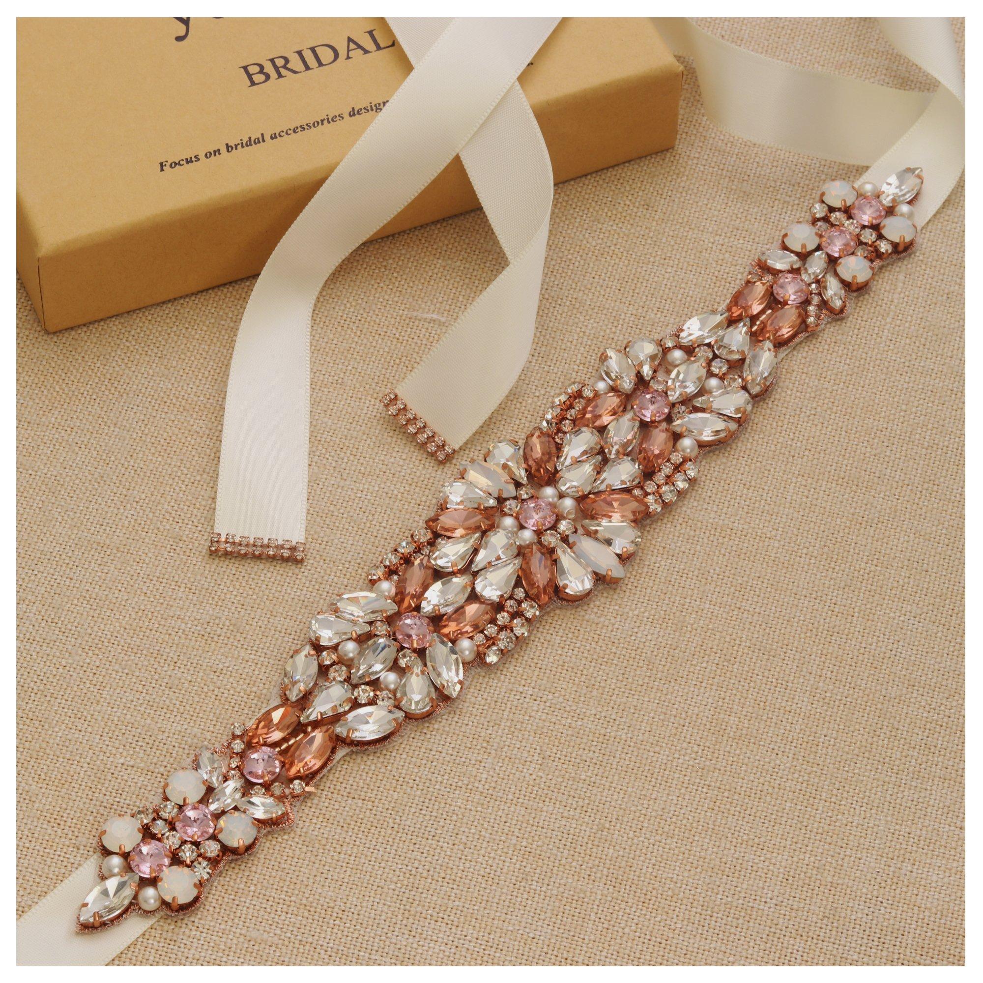 Yanstar Handmade Rose Gold Pearl Rhinestone Crystal Opal Wedding Bridal Belt Sash With Ivory Ribbon For Wedding Bridesmaid Womens Prom Gowns Dress