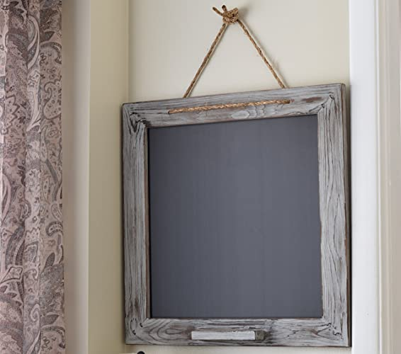 gray wood frame chalkboard square 22x22 distressed kitchen chalk marker board rustic home decor