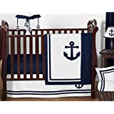 Anchors Away Nautical Navy and White Boys Baby Bedding 11 Piece Crib Set
