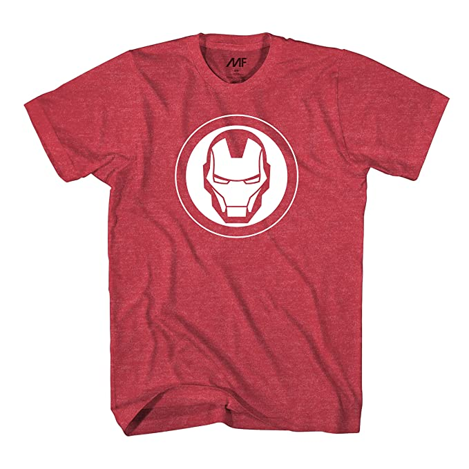 78d8f8885eb7 Marvel Avengers Iron Man Mask Logo Mens T-Shirt (Extra Large, Heather Red