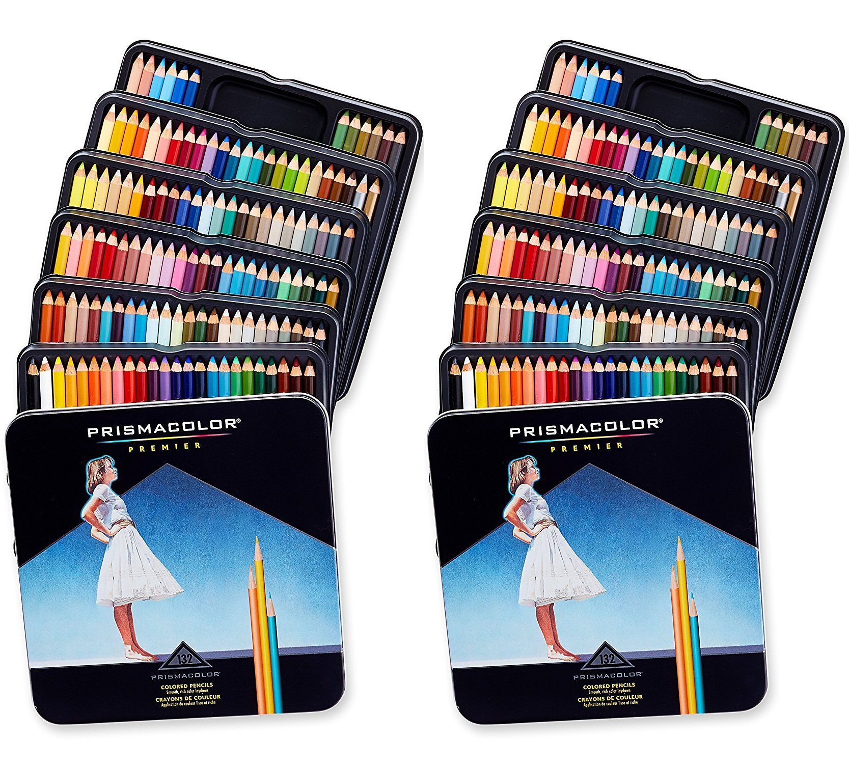 Prismacolor 4484 Premier Soft Core Colored Pencils, 132 Colors, Perfect for Layering, Blending, and Shading - Soft, Thick Cores Create a Smooth Color Laydown, Pigments, Pack of 2 by Prismacolor (Image #1)