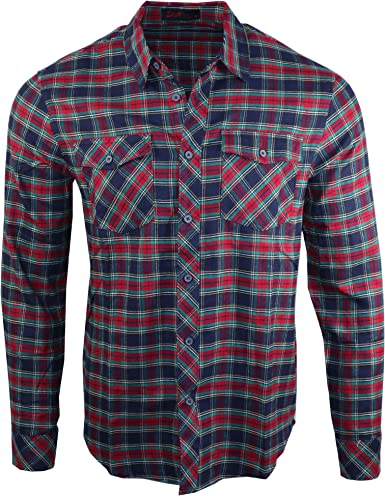 D&H Camisa casual de manga larga de franela de algodón para ...