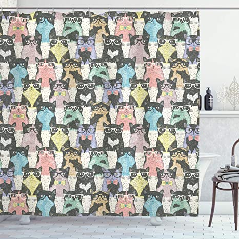 Astounding Ambesonne Funny Cartoon Shower Curtain Theme Of Playful Hipster Cats With Glasses Colorful Dotted Designed Print Cloth Fabric Bathroom Decor Set Gmtry Best Dining Table And Chair Ideas Images Gmtryco