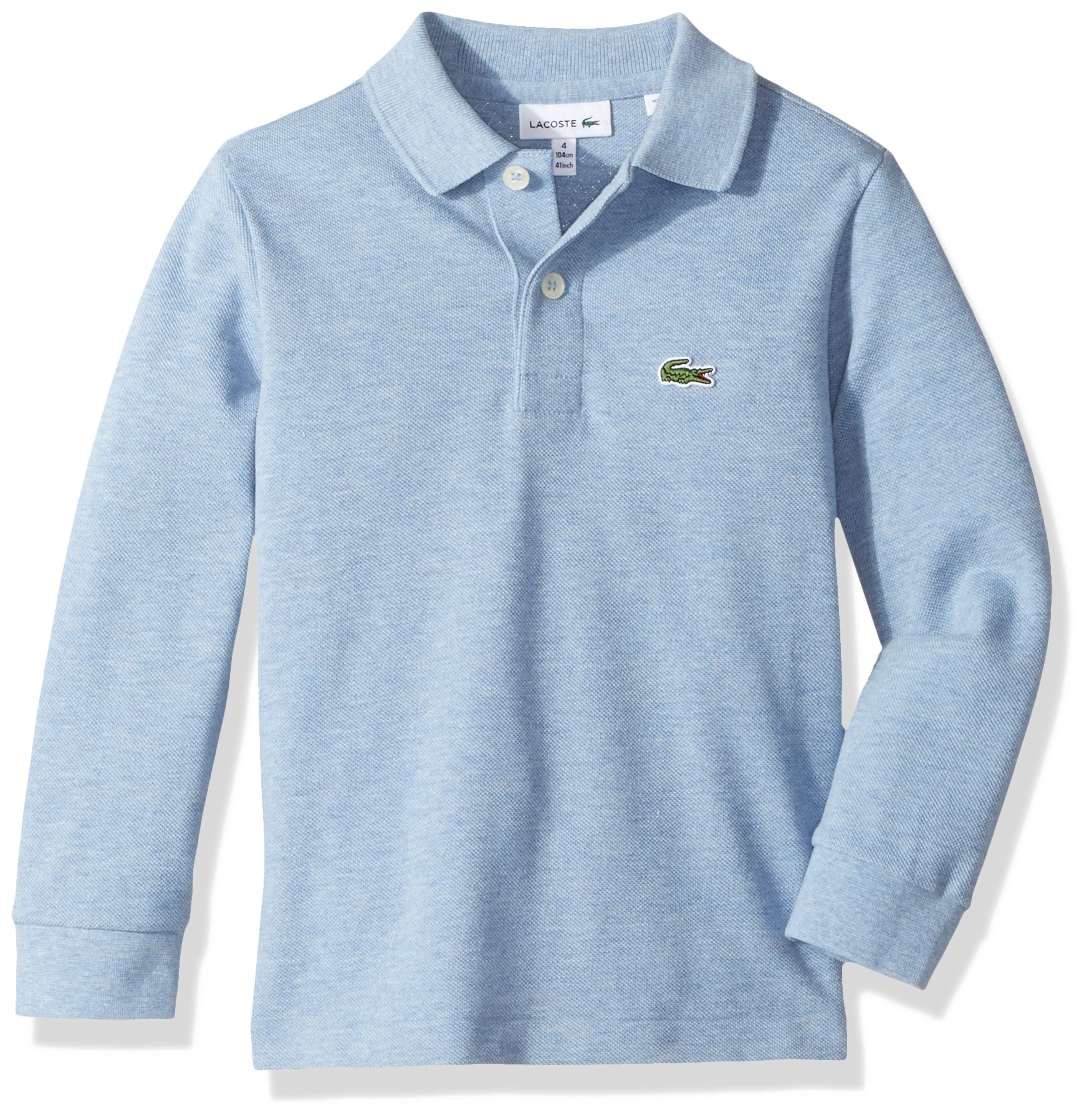 Lacoste Boy Long Sleeve Classic Solid Pique Polo, Cloudy Blue Chine, 6