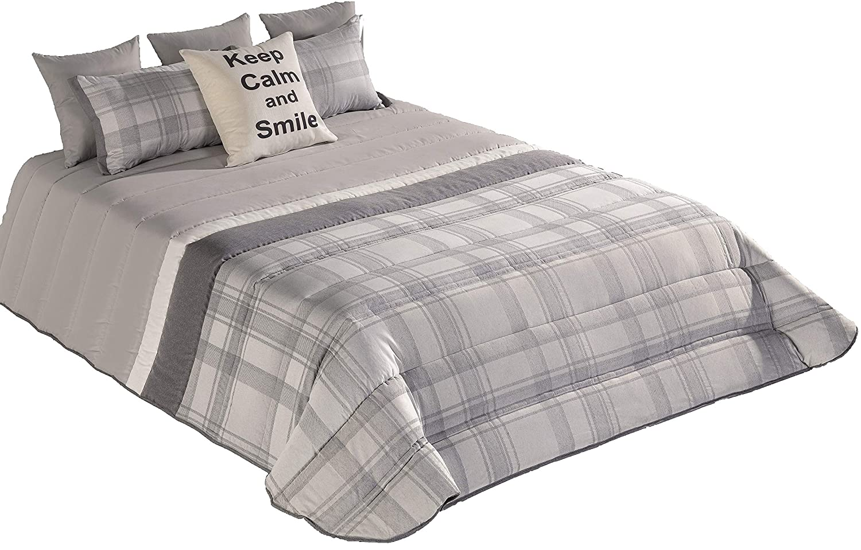 Tagesdecke Bettdecke Bettüberwurf Quartzo Jacquard Gesteppt (alle Maße) + 1 or 2 Kissenbezüge (40x60 cm) (Grau, 300x260 cm + 2 Kissenbezüge)