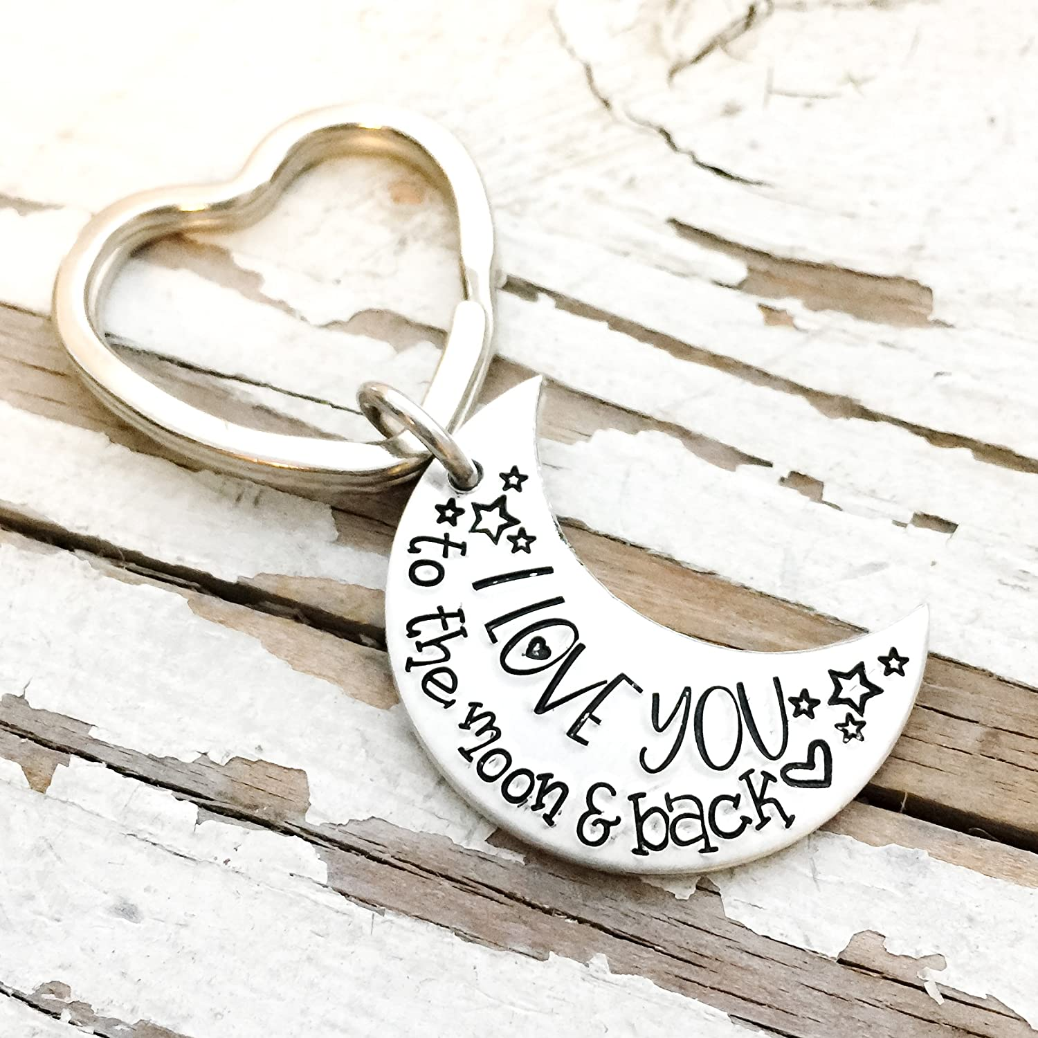Hand Stamped I Love You to the Moon and Back Keychain