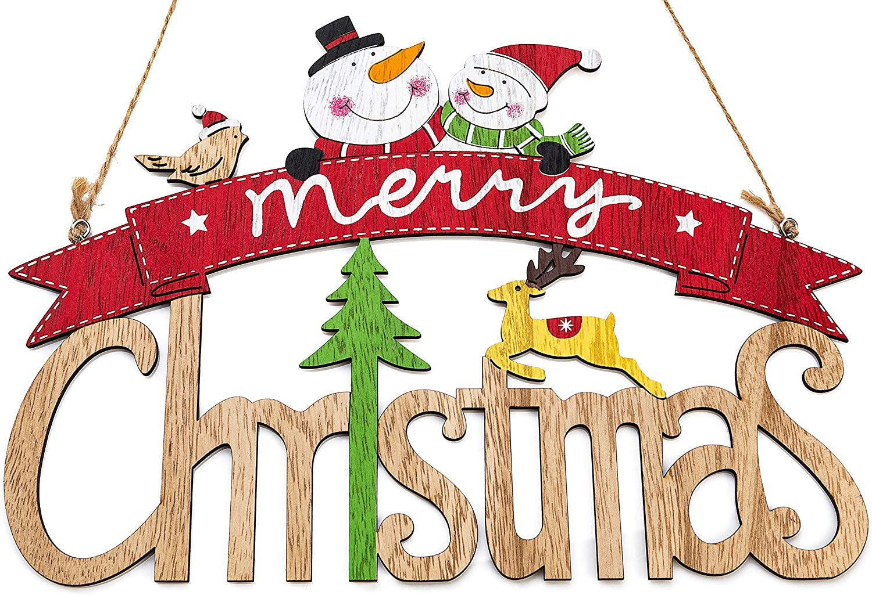 Zilo Novelties Merry Christmas Sign   Farmhouse Christmas Decor   Christmas Sign Wooden (A)
