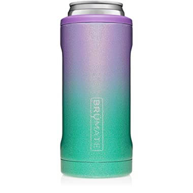 BrüMate Hopsulator Slim Double-walled Stainless Steel Insulated Can Cooler for 12 Oz Slim Cans (Glitter Mermaid)