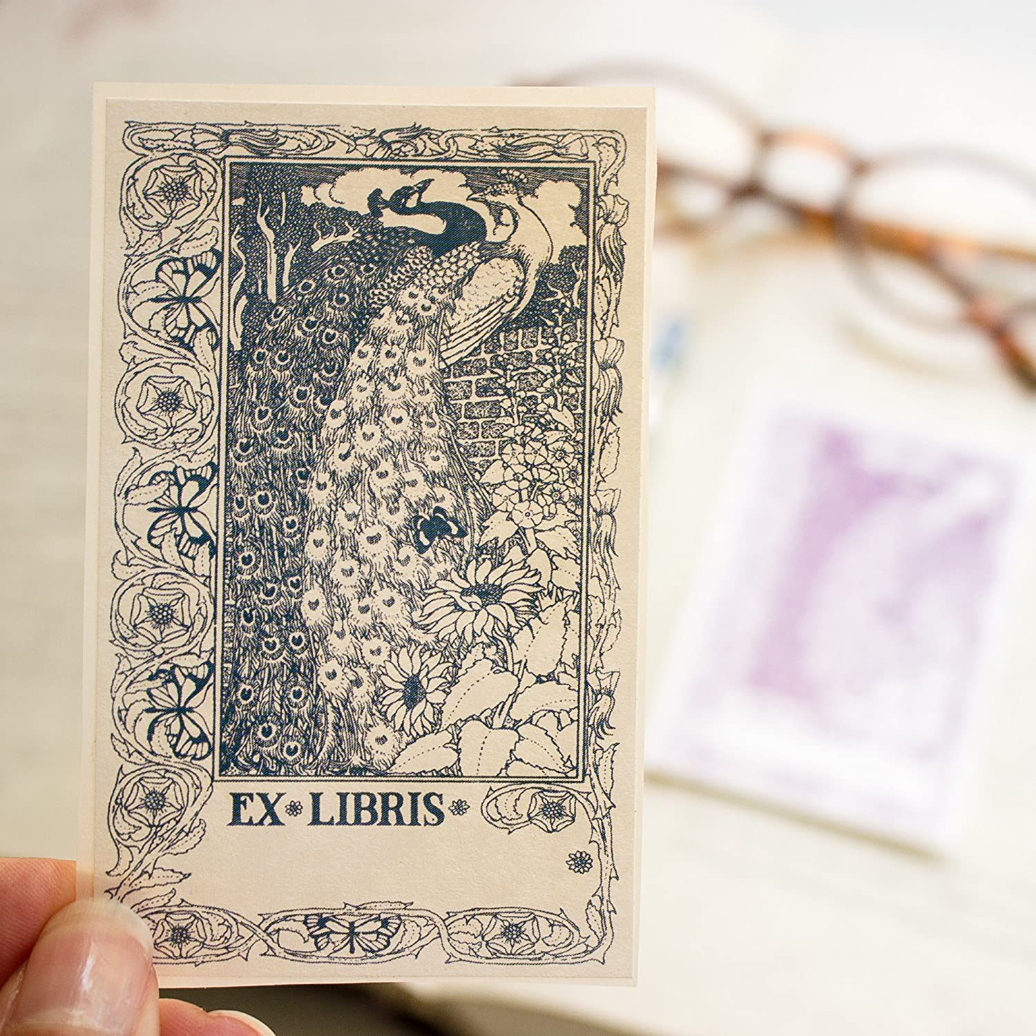 Peacock Bookplate Stickers art deco book labels personalized gift set of 10