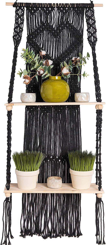 KALTEK Black Macrame Shelf   Boho Style with Two Tier Wood Shelves   Beautiful Handmade Macrame Shelf for Hanging Plants and Decor   Boho Wall Decor with Macrame Rope and Shelf