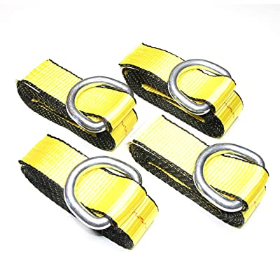 """WorldPac (Pack of 4) 2"""" X 8 Ft Lasso Strap with D Ring Auto Tie Down: Automotive"""