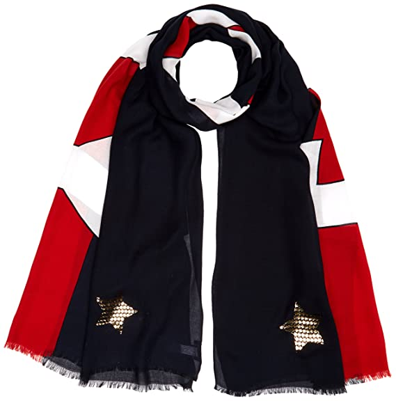 33db5254e703a Tommy Hilfiger Women's Tommy Metallic Scarf, Blue (Corporate Mix 901), One (