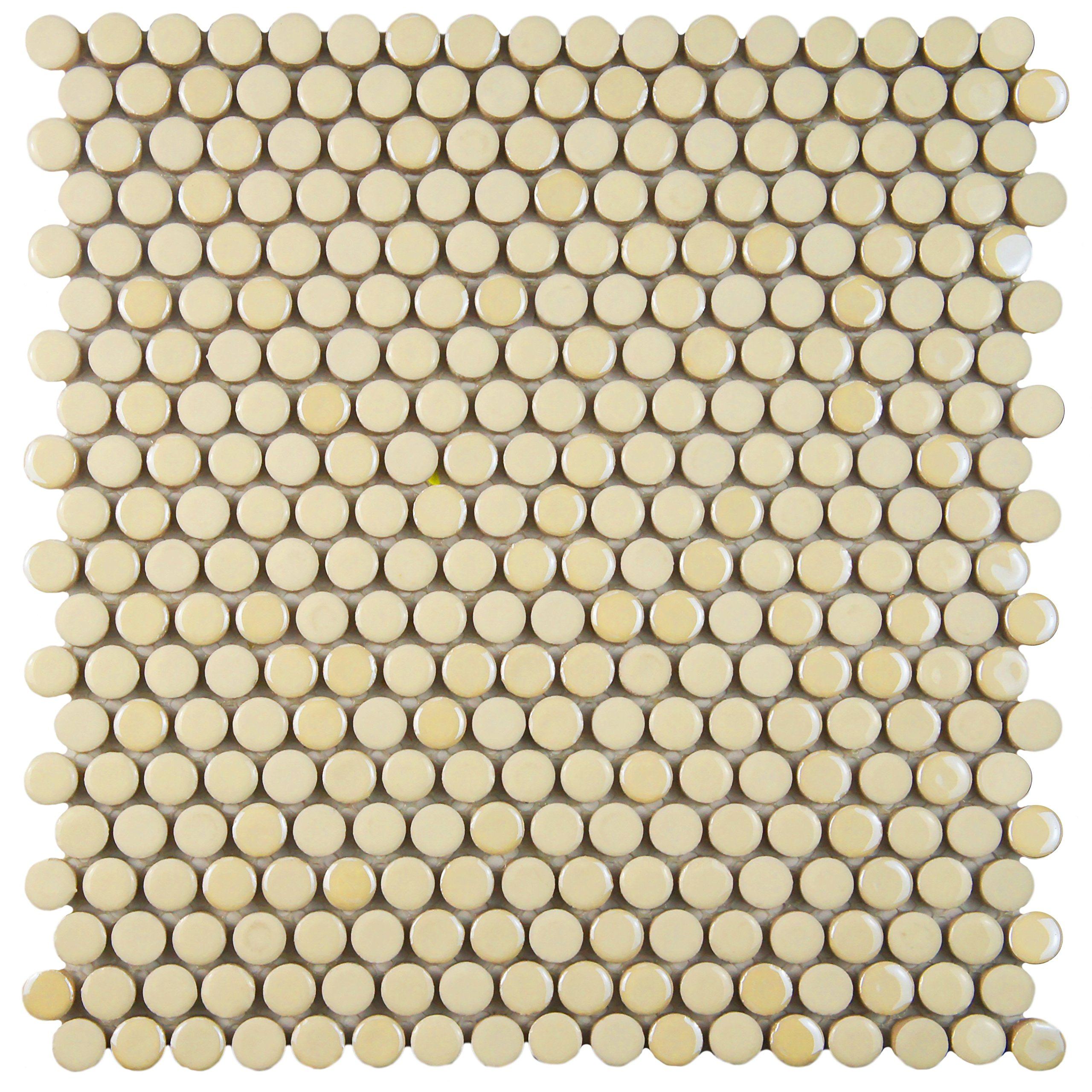 SomerTile WSHGPRAL Ursa Penny Round Porcelain Floor and Wall Tile, 11.25'' x 11.75'', Almond Beige
