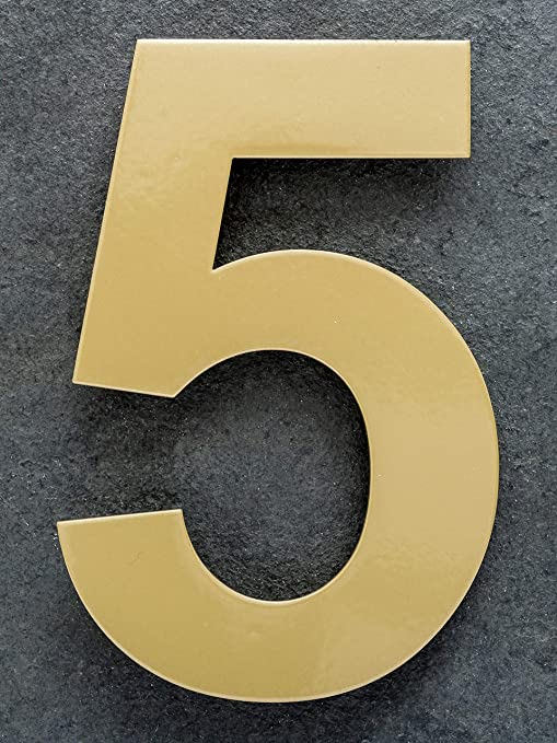15 cm Número de Casa 0 de acero inoxidable. Large latón oro ...